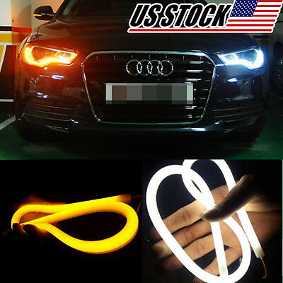 2pcs Tube Switchback Headlight and Turn Signal LED Strips DRL SMD Neon Run Light