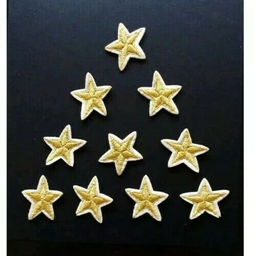 """10pcs Tiny Gold Stars Embroidered Iron On Patch Appliqué 1/"""""""