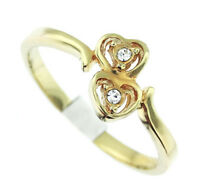 18kt Gold Plated Double Heart Two Small Stones Ladies Ring