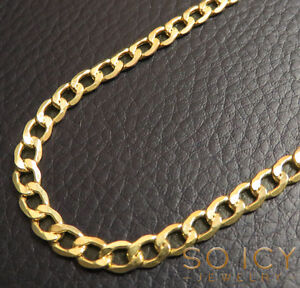 18-26-034-4-5mm-10k-Yellow-REAL-Gold-Miami-Cuban-Curb-Lite-Chain-Necklace-Mens