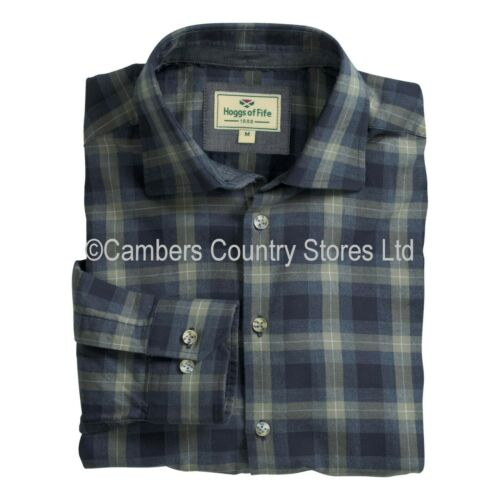 Hoggs Of Fife Mens Angus Long Sleeve Blue /& Brown Classic Check Country Shirt