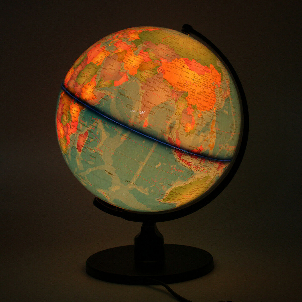 220v Rotating World Globe Map Lamp W Stand Led Night