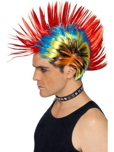 Mohawk Wig Street Punk Fancy Dress Festival Club Wear Stag Hen Nights Party 80/'s