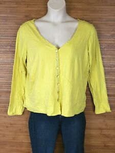 Eileen-Fisher-Yellow-Button-Down-Organic-Cotton-Blouse-Womens-Size-XL-EUC