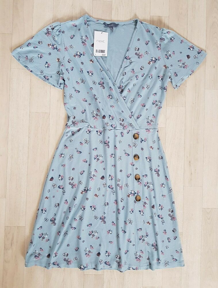 Next Taille 8 Sombre Bleu Motif Floral Tea Dress Summer Wrap Over Holiday Skater Party