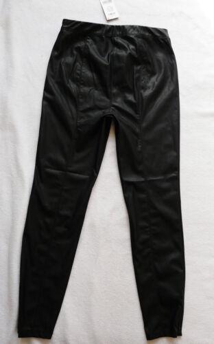 BNWT NEXT Leather look biker stretch jeggings leggings black ankle zips R L P T