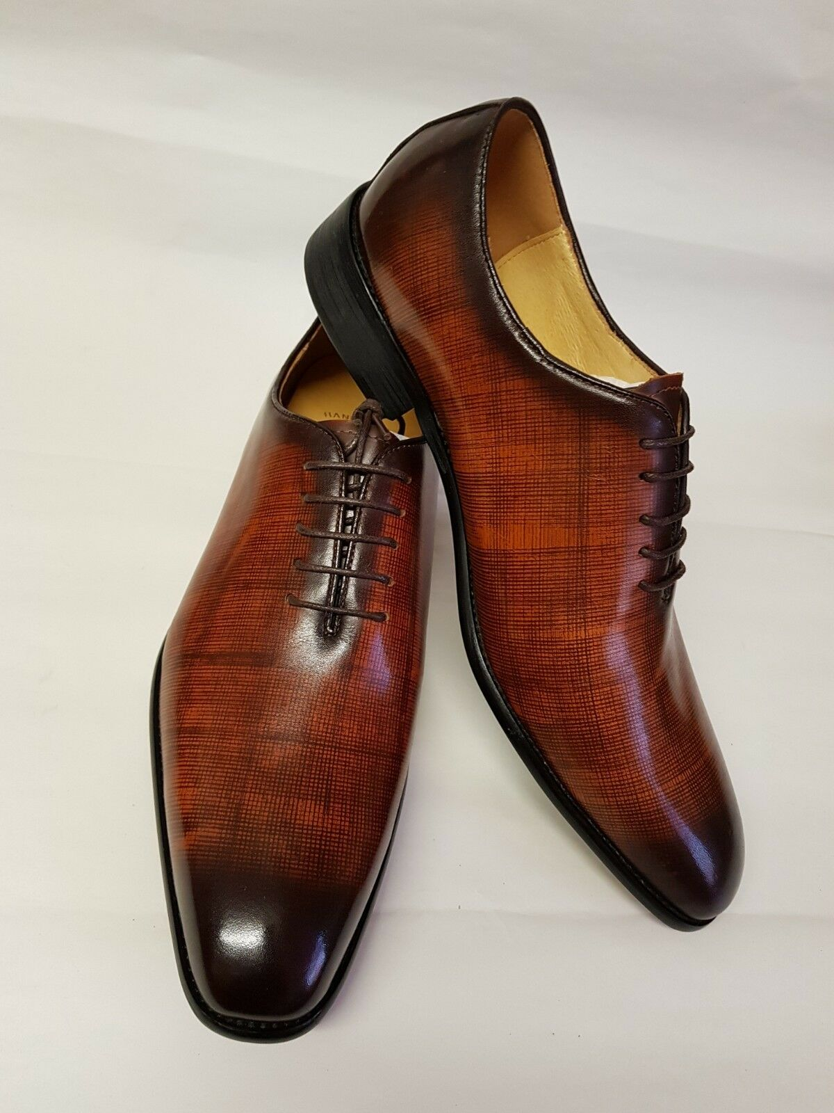 Warberg para hombres Genuino Cuero Vaca Doble Tono Marrón Zapatos Formales