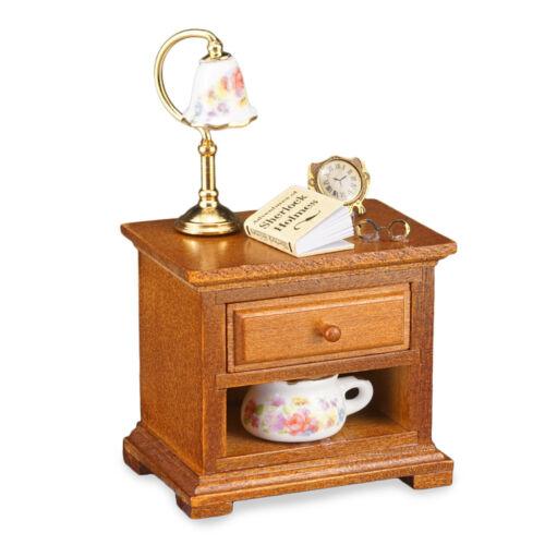 Reutter Porzellan Nachttisch dekoriert / Nightstand Puppenstube 1:12 Art 1.827/5