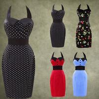 Plus Sz Ladies Retro 1950's style Black Red Pencil Wiggle Pinup Dress