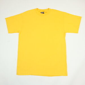 Vtg-90s-NOS-Signal-Sport-Blank-T-Shirt-LARGE-USA-Single-Stitch-Deadstock-Yellow