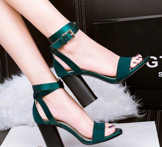 s carré élégant 9.5 cm noir vert chaussons comme cuir élégant 8938 d44c33