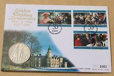 QUEENS GOLDEN WEDDING ANNIVERSARY 1997 FALKLAND ISLANDS FDC + £5 FALKLANDS COIN