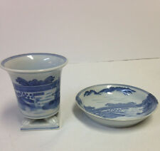 Rare Blue White Chinese Japanese Porcelain Brush Pot + Brush Bowl
