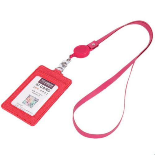 Portable Leather Business ID Card Credit Wallet Badge Holder Purse Lanyard