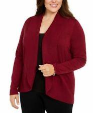 Karen Scott Plus Size Open-Front Cardigan in Merlot Combo