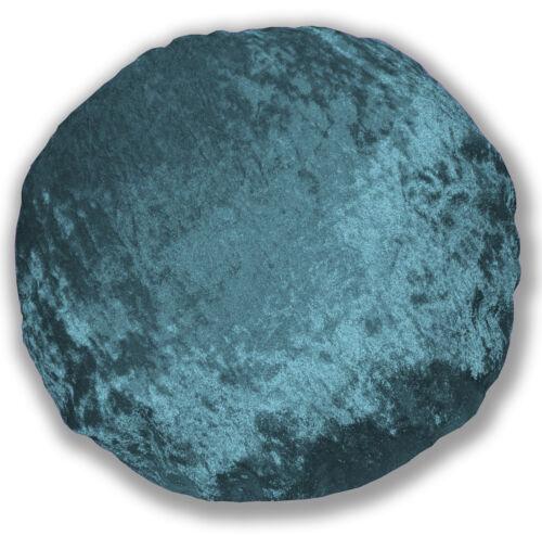 Mv18n DP Bleu Sarcelle Brillant Diamond Crush velours style forme ronde Housse de coussin