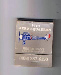 Details About 94th Aero Squadron Restaurant Vintage Matchbook San Jose Airport