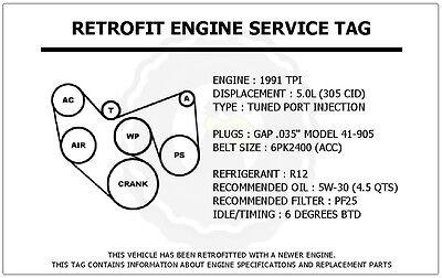 1991 pontiac 3 1 engine diagram 1991 tpi 5 0l trans am retrofit engine service tag belt routing  1991 tpi 5 0l trans am retrofit engine