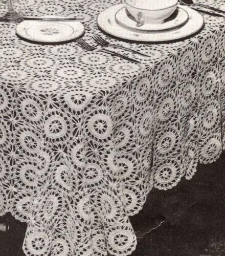 Crochet PATTERN MOTIF BLOCK Star Wheel Round Tablecloth