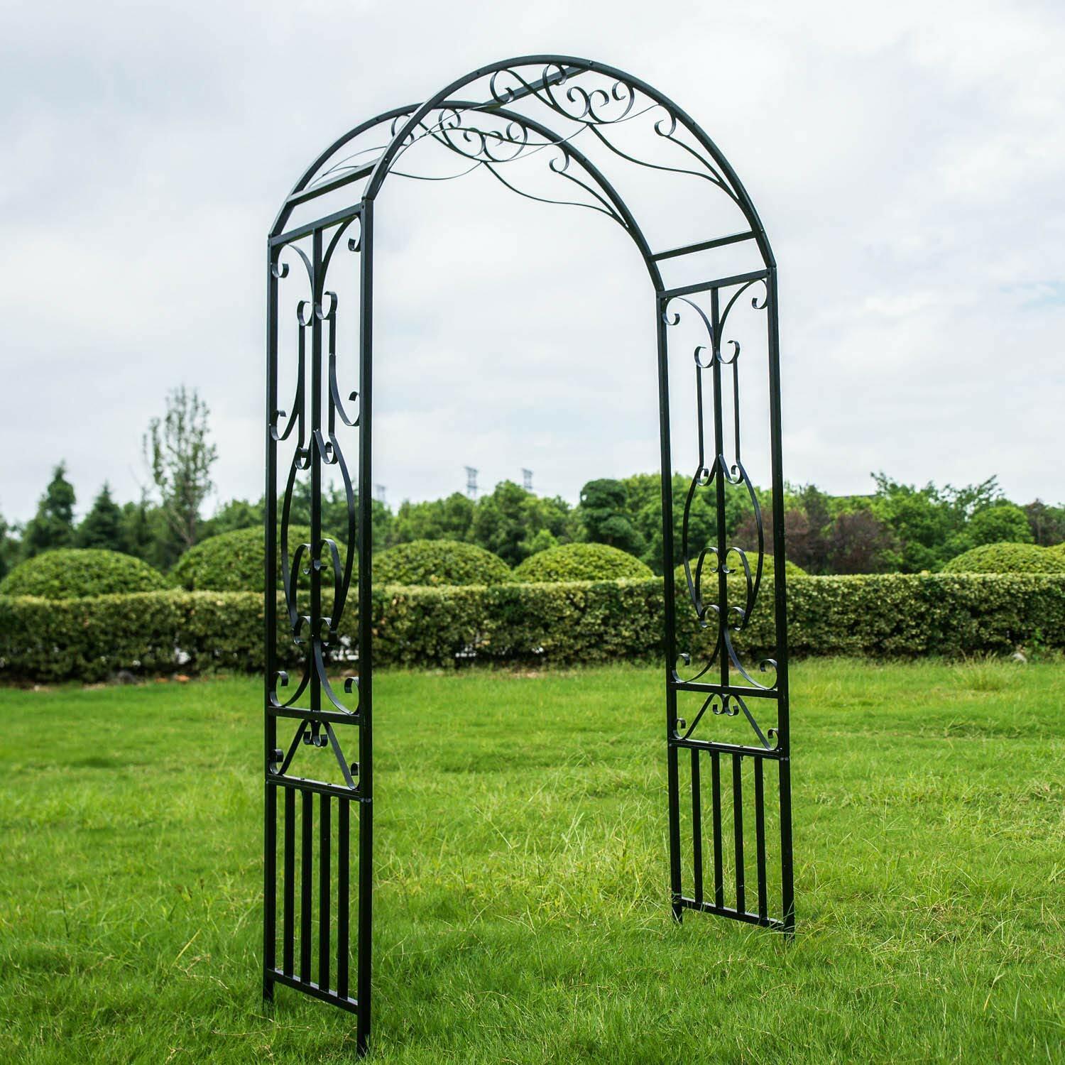 Garden Arch 120 x 60 x 205 cm Natural Solid Wood Wedding Arch Ceremony Bridal Party Decoration Arbor Arch Climbing Plant Support for Lawn Backyard