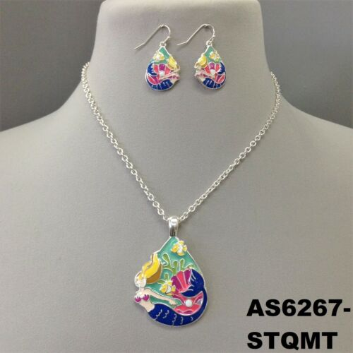 Multi Color Sea Mermaid Inspired Pendant Silver Finish Necklace Set /& Earrings