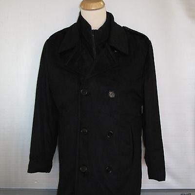New Men's Black Wool Blend Pea Coat Double Breasted Jacket Inset Bib
