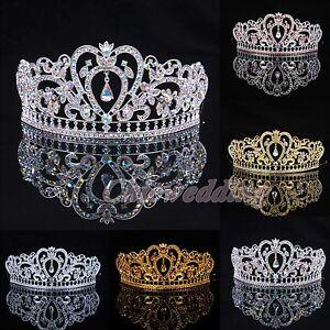 Crystal-Wedding-Tiara-Crown-Veil-Headband-Prom-Pageant-Princess-Crowns-Headpiece