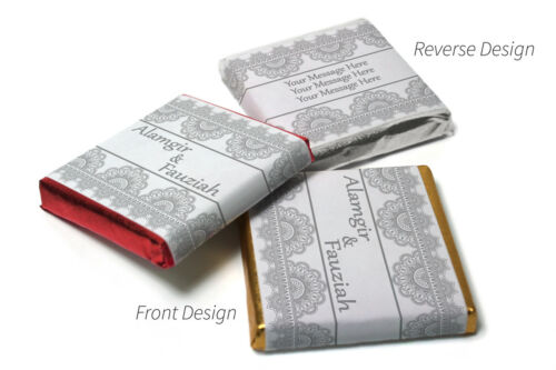 Grey//Silver Border Personalised Chocolate Neapolitan squares Mehndi