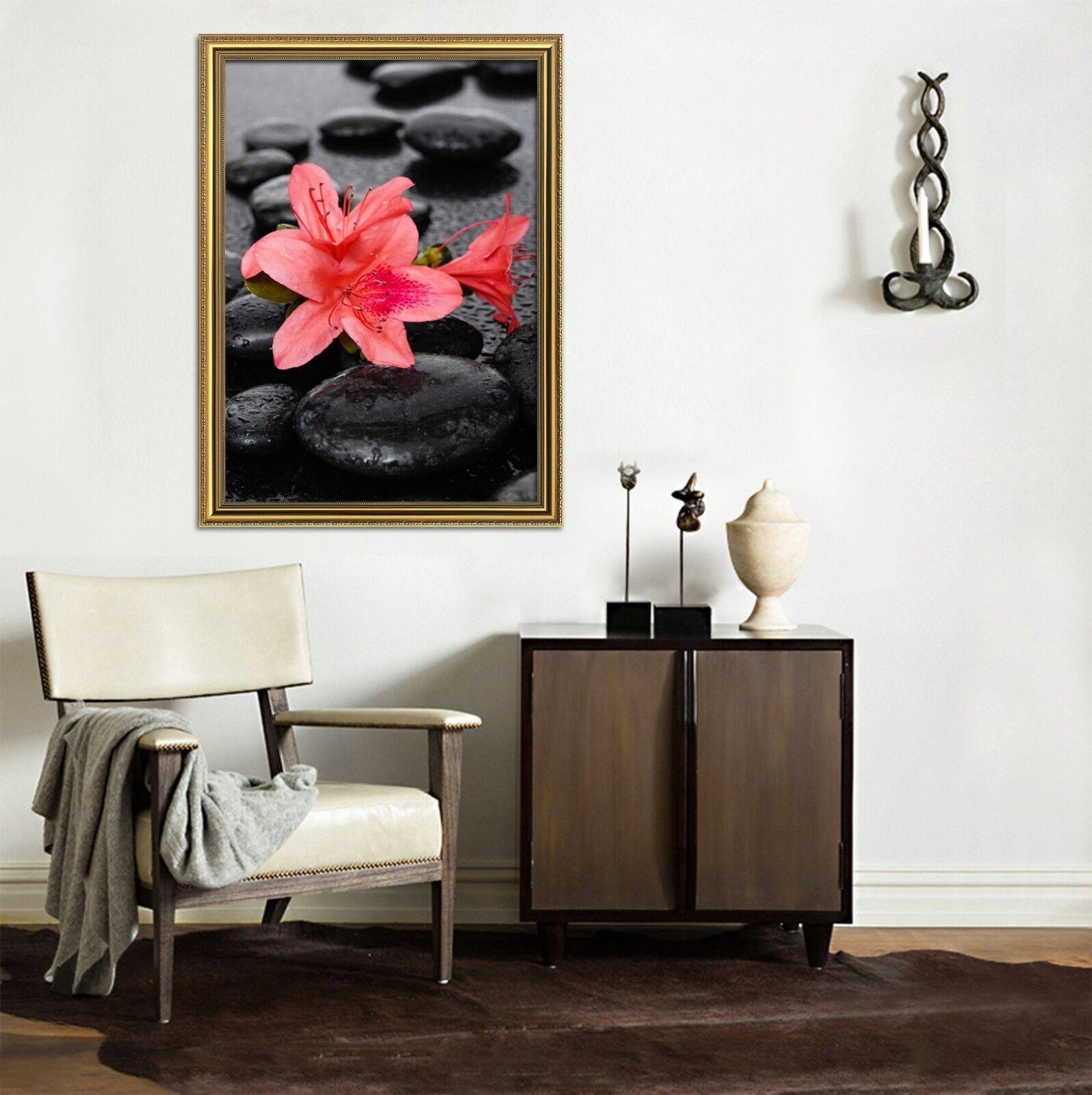 3D rojo Lily Piedra Negra 1 Enmarcado cartel impresión de decoración del hogar papel tapiz de arte de la pintura