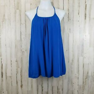 Lu-Lu-039-s-Womens-Top-S-Blue-Racer-Back-String-Crepe-Tank-Embroidered