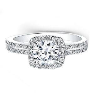 Real 1 55 Ct Moissanite Wedding Band 14k White Gold Solitaire Rings