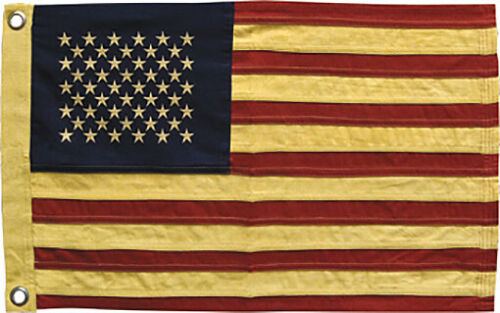 """American USA Flag 50 Embroidered Stars Tea Staine Cotton 17/"""" x 28/"""" Patriotic"""