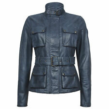 BELSTAFF WOMEN'S leather jacket rrp £ 1.250 TRIUMPH Giacca Nera