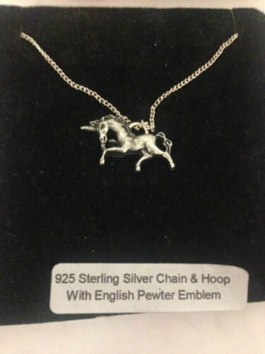 Unicorn R152 Emblem on a 925 Sterling Silver Necklace 16,18,20,26,30