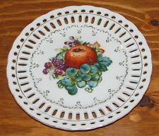 "Vintage Japan Porcelain Reticulated Pierced Edge Plate Fruit Pattern 7 5/8"""