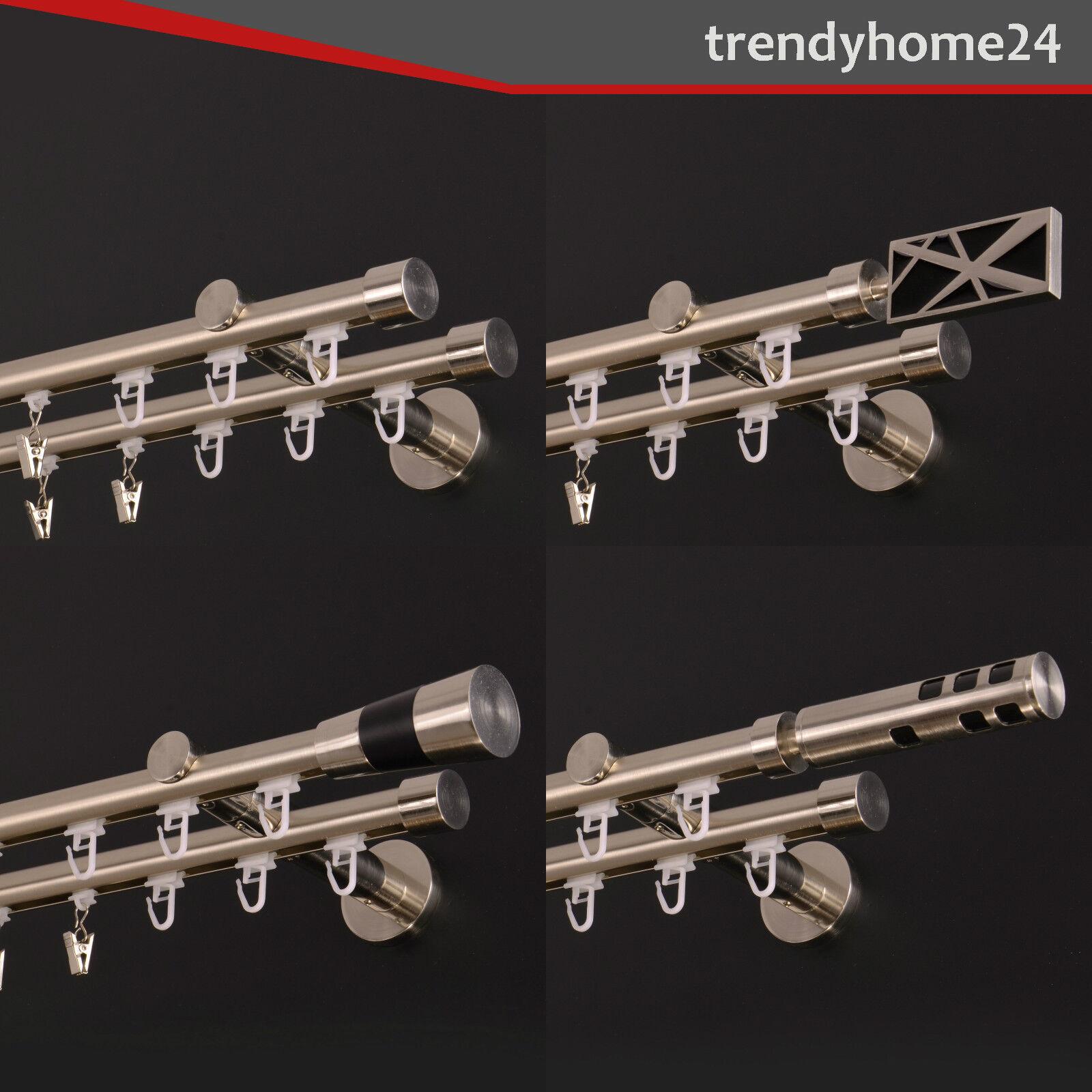 Innenlauf Gardinenstange 19mm 2-Läufig Edelstahl-Look 120cm bis 600cm_IS23 | Ausgezeichnete Leistung