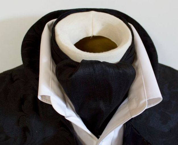 Victorian Ascot DAY Tie Cravat MIdnight black Dupioni SILK