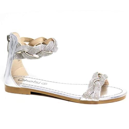 Femme Femmes Gladiateur Sandales Plates Bride Cheville Strass Fashion Chaussures