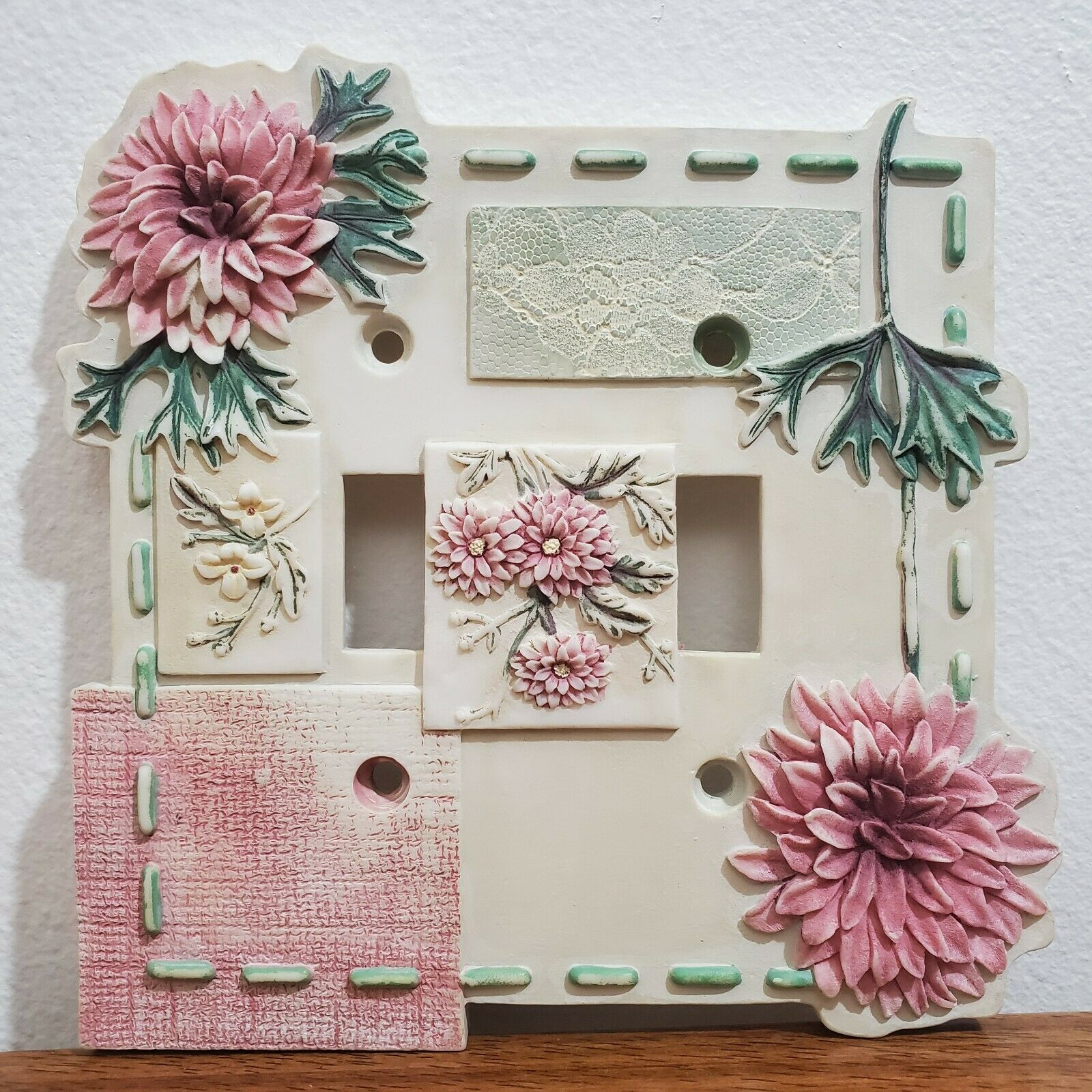 Borders Unlimited Pink Floral Flower Double Toggle Resin Light Switch Wall Plate For Sale Online