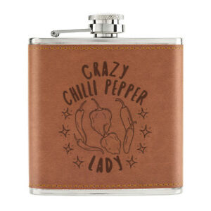 Crazy-Chilli-Poivre-Lady-Stars-170ml-Cuir-PU-Hip-Flasque-Brun-Maman-Mothers-Jour