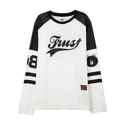 Line Friends PLF (Push Button Collaboration) White & Black Trust Long Sleeve Tee