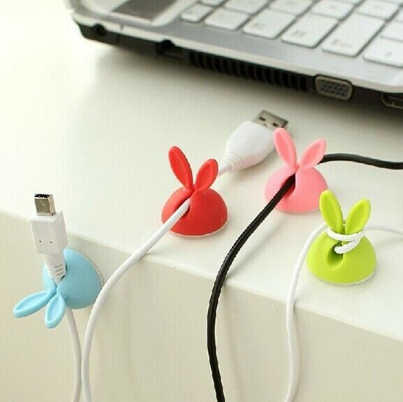 4PCSRabbit Cable Drop Clip Desk Tidy Organiser Wire Cord Lead USB Charger Holder
