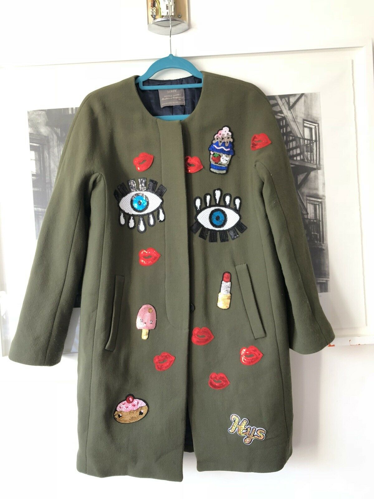 J Crew Italian Fabric Wool Coat Green Sz 10 With Patches DOUBLE CLOTHES