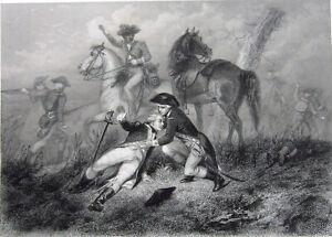 Guerre révolutionnaire bataille de Brandywine Lafayette ~ 1860 ART ESTAMPE GRAVURE RARE