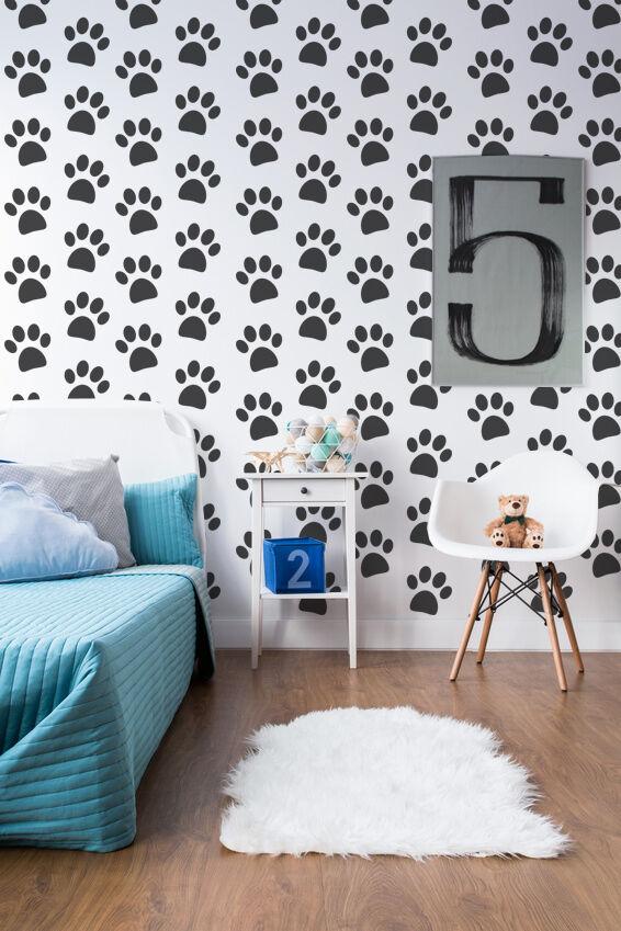 Paw Print Decal, Woodland Nursery Decor, Animal Print Decor, Nursery Wall Decal
