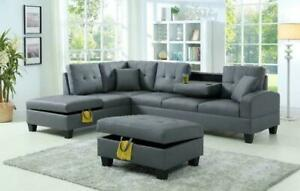PRE-ORDER SALE!! Brand New Sectional With Storage in Chaise and Matching Storage Ottoman Only $899  LIMITED QUANTITIES, Saskatoon Saskatchewan Preview