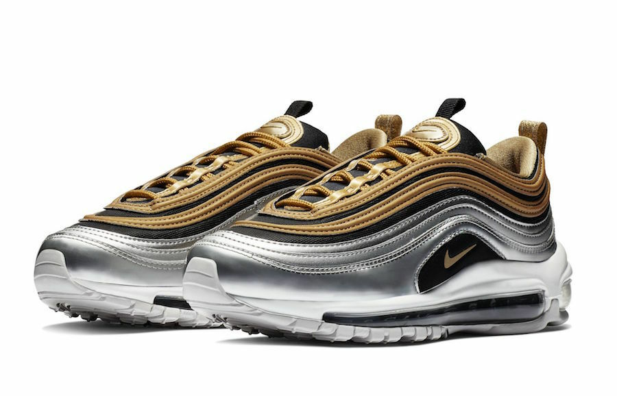 2018 WMNS Nike Air Max 97 SE SZ 6 Black Metallic Silver gold OG AQ4137-700