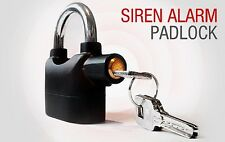 ALARMED LOCK SIREN PADLOCK MOTORBIKE ALARM LOCK BIKE SHED SECURITY