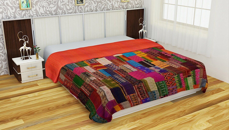 Indian Silk Patola Kantha Quilt Handmade Cotton Bedspread Throw Patchwork Gudri