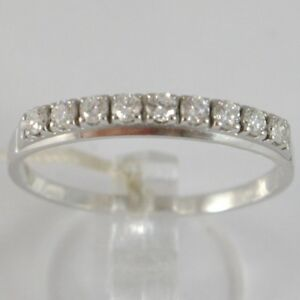 Anillo-de-Oro-Blanco-750-18Ct-Veretta-9-Diamantes-Quilates-Total-0-28-Plato